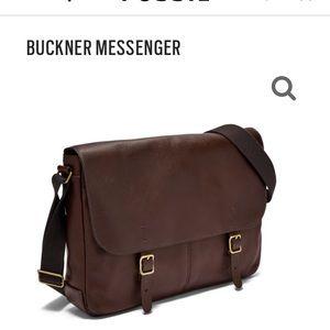 Fossil Buckner Messenger Bag-Brown Leather